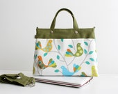 SALE Mini Laptop Bag in Olive Green Little Rainbow Birds / Macbook / Ipad / Outside Pocket