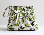 Last One - Messenger Bag, Diaper Bag, Daphne Leaves Pleated, Zipper Closure, Lots of Pockets, Shoulder Bag, Pistachio, Large, CrossBody Bag