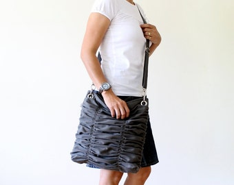 Poetry in Grey / Gray / Pleated Bag / Shoulder Bag / Diaper Bag / Large / Ruffles Bag /  Cross Your Body / Choose your Color
