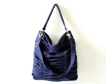 Poetry in Dark Midnight Blue / Shoulder Bag / Pleated Bag / Large / Medium / Ruffles Bag / Messenger Bag / Choose your Color