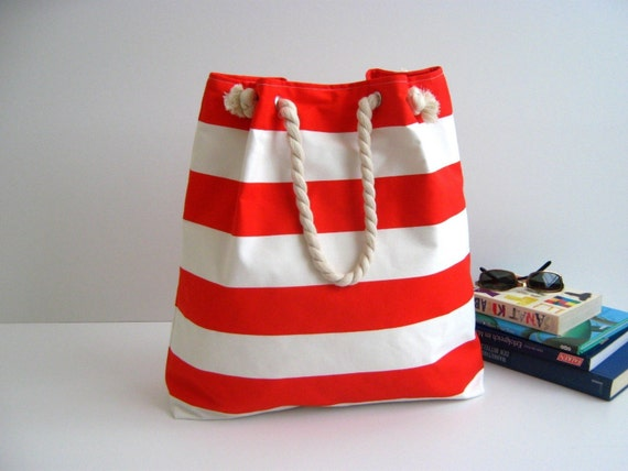 Sailor Tote Bag --for market or beach or gym-- -red and white striped, X-Large and cotton rope straps-