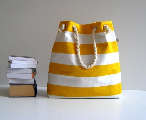 Sailor Tote Bag --for market or beach or gym-- -yellow and white bold striped, X-Large and cotton rope straps-