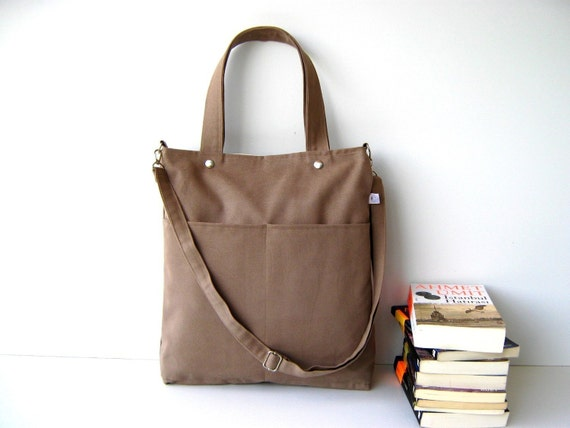 Last One - Simply Tote Bag in Light Brown - unisex - multi functional handstiched - handbag - satchel - carry bag - macbook pro - large