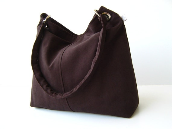 Last ONE Classy Hobo Bag in Chocolate Brown - with top ZIPPER CLOSURE -- Large