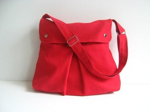 Modular Messenger Bag in Crimson Red ( Bright Red ) / Shoulder Bag / Laptop Bag / Diaper Bag / Travel Bag