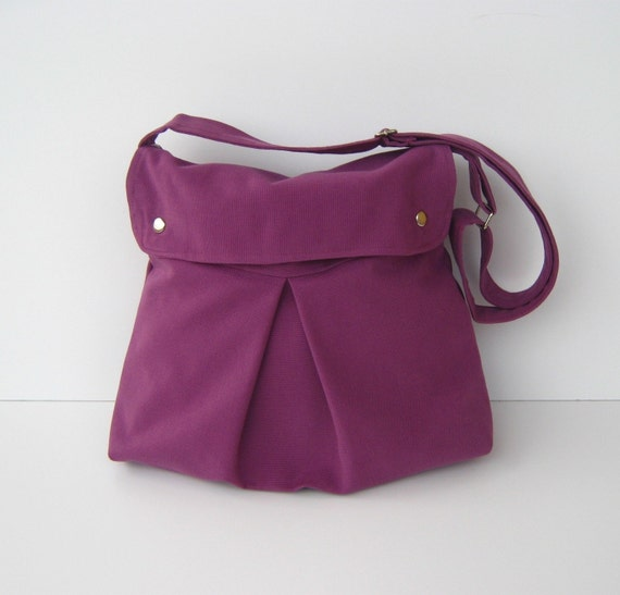 Modular Messenger Bag in Purple / Shoulder Bag / Laptop Bag / Diaper Bag / Travel Bag
