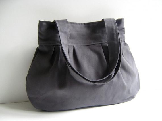 Last ONE  Olive Grey Canvas Tote Bag  pleated shoulder bag, everyday purse, shoulder bag, diaper bag, notebook book bag, school bag