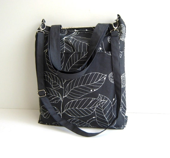 Simply Tote Bag - Leaves in Grey -