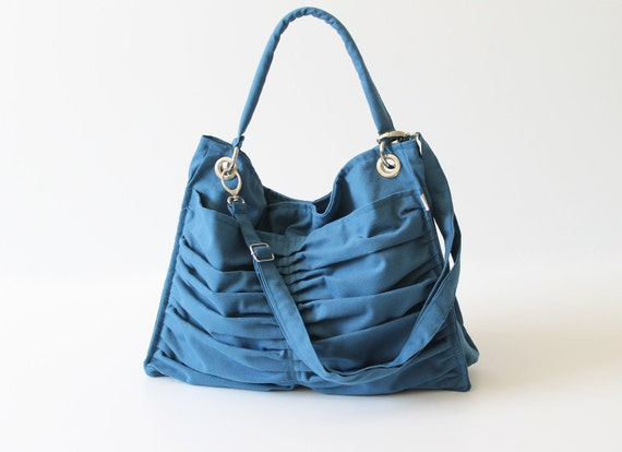 Diaper Bag / Euphoria in Teal / Outside Pockets / Pleated Bag / Shoulder Bag / Travel Bag / Large / Cross Your Body / Choose your Color