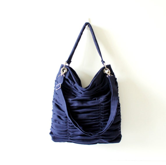 LAST ONE - Poetry in Dark Midnight Blue / Shoulder Bag / Pleated Bag / Large / Medium / Ruffles Bag / Messenger Bag / Choose your Color