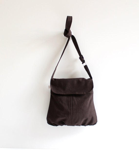 LAST ONE - Cross body bag, Chocolate Brown Messenger Bag / Canvas Bag / Shoulder Bag / Woodland / Pleated / Fashion / Summer Fashion / Flap