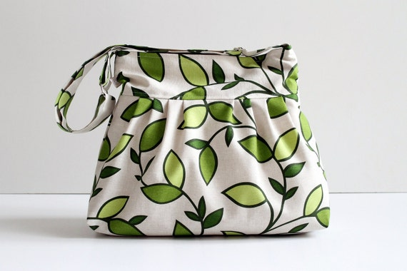 Last One - Messenger Bag, Diaper Bag, Daphne Leaves Pleated, Zipper Closure, Lots of Pockets, Shoulder Bag, Pistachio, Large, CrossBody Bag