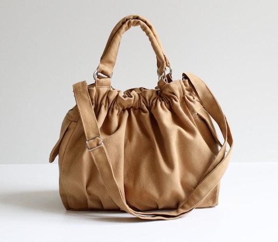 LAST ONE - Diaper Bag / Practical Nagy Bag in Mustard / Messenger Bag / Travel Bag / Fashion / Natural / Outside / Texture / Everyday Bag