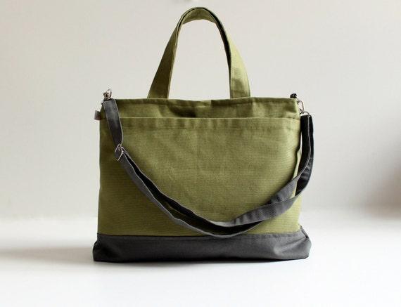 Last One - Worthy Bag in Olive Green with Grey, Unisex Laptop Bag, Messenger Bag, Organizer, Travel / Weekender / Men / Dad / Forest