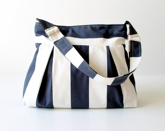 Fora Bag in Dark Blue & White Stripes Pleated Bag / Summer Fashion / ZIPPER TOP CLOSURE / Messenger Bag / Shoulder  / Large / Cross Body Bag