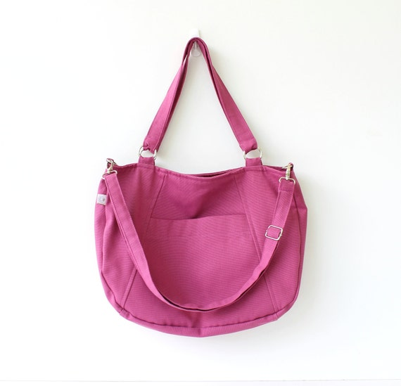 Last ONE - Beauty Tote Bag in Purple Pink / Diaper Bag / Shoulder Bag / Messenger Bag / Outside Pocket / Inside Pockets / Chic / Summer