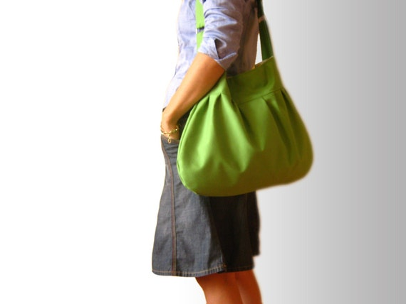 Shoulder Bag in Green --everyday purse, with metal accessories--