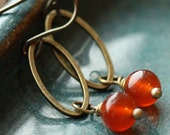 Petite Cinnamon Oval Earrings with Vintage Glass Beads