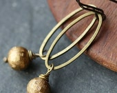 Petite Golden Oval Earrings with Vintage Lucite Beads