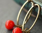 Cherry Red Vintage Glass Beaded Earrings