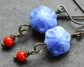 Tiny Blue Flower Earrings with Vintage Glass