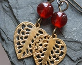 Beaded Heart Filigree Earrings with Vintage Glass and Vintage Brass
