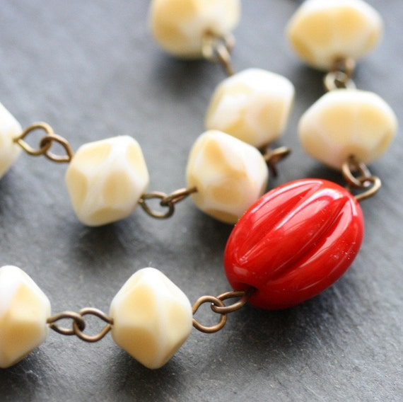 Scarlet Poppy Necklace - Vintage Glass and Antiqued Brass