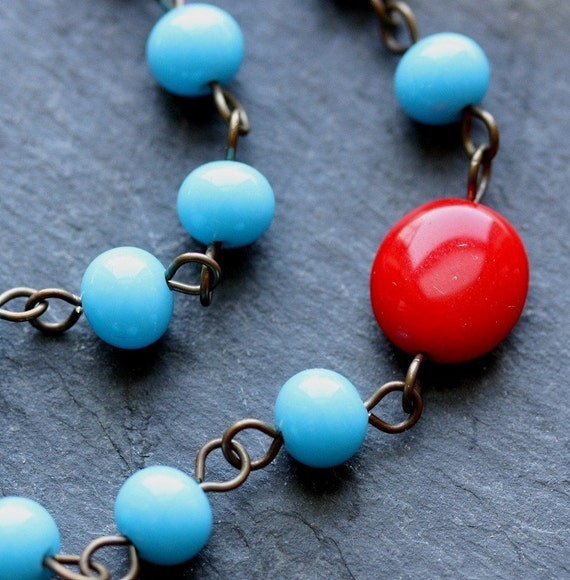 Cherry Drop Necklace - Vintage Glass and Antiqued Brass