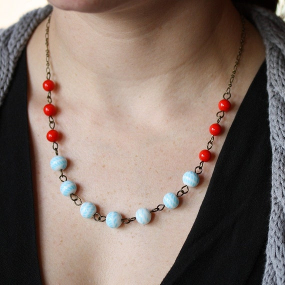 Colorful Beaded Necklace with Vintage Glass Beads - Red Bicyclette Necklace