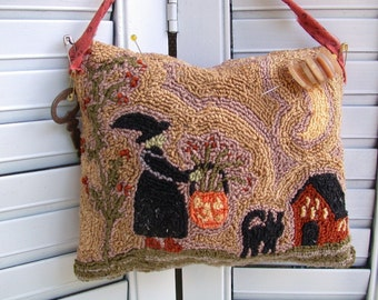 Primitive  Halloween Witch and Cat Punch Needle Pin keep Pattern