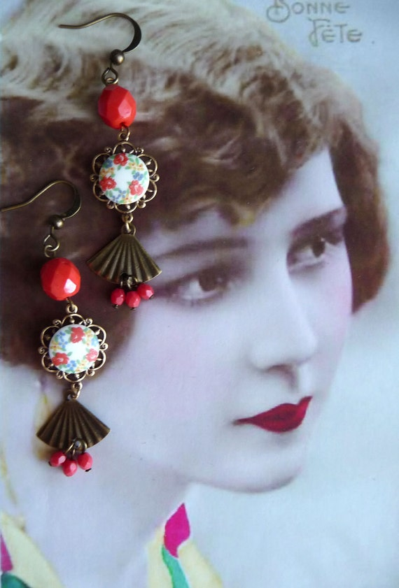 Confetti Earrings - Vintage Inspired Jewelry - Floral earrings with vintage cabochon red beads and brass fans (SD0089)