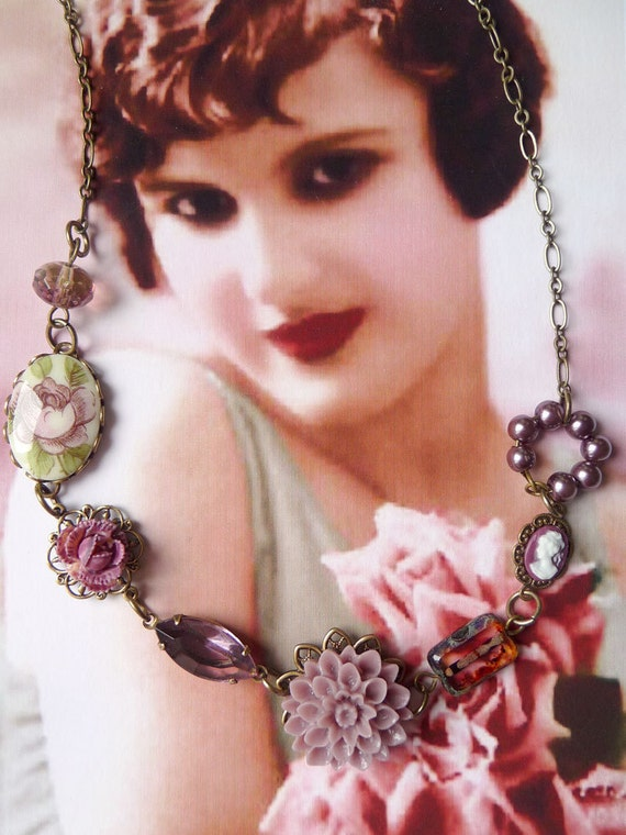 Vintage Inspired Jewelry - Vintage rose cabochon - purple pearls - Plum - Purple Aze Necklace