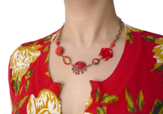 Passionata III Necklace - Repurposed jewelry - Vintage Inspired - Red Rose - Scarlet - Crimson