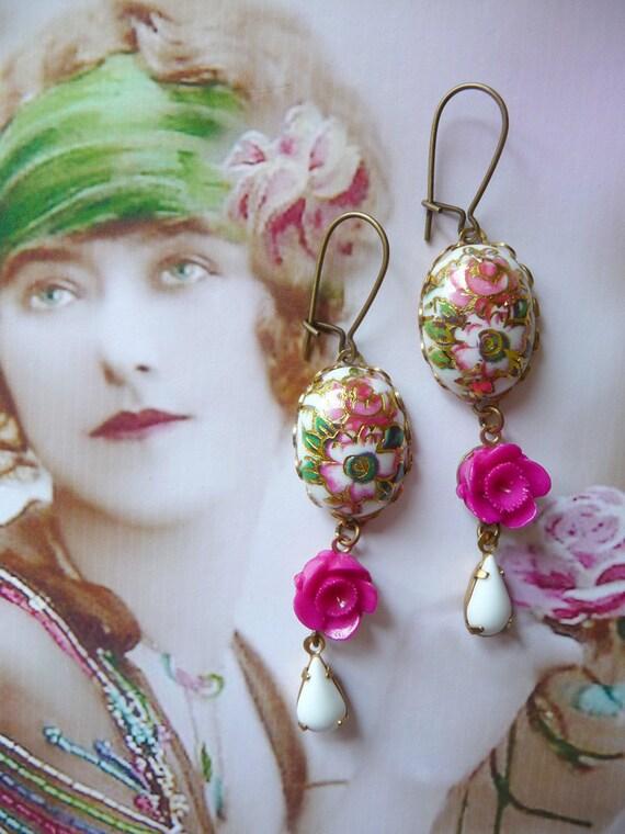 Carlotta Earrings - Vintage Inspired Jewelry - Purple - Eggplant - Plum - Fuschia - Vintage Glass Jewels - Roses (SD0176)