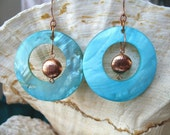 Big Hoop Shell Earrings - Aquamarine/Turquoise and Copper