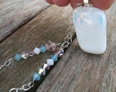White Fused glass and Pastel Rose Pink Turquoise Blue White Crystal Necklace with Sterling Silver Chain