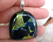 Dark Navy Blue and Gold Pendant - Rainbow Splash Dichroic Fused Glass