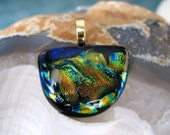 Fused Glass Pendant, Gold Amber Green Blue Dichroic Glass Pendant, One Of A Kind Pendat
