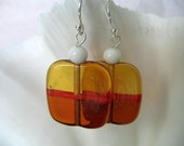 Topaz Amber Czech Glass Earrings -- Unique Square Beads with Red Line