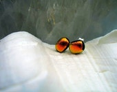 Red Gold Dichroic Fused Glass Post Earrings - Coppery Red Orange