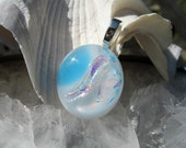 Shimmering White and Sky Blue Dichroic  Pendant - Fused Glass