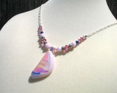 Pink Fused Glass Necklace - Dichroic glass, Crystals, Sterling Silver chain