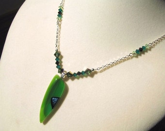 Fused Glass Necklace - Green Dagger