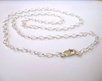 Sterling Silver Chain 16 inch (40cm) Necklace - 2.5mm round cable link