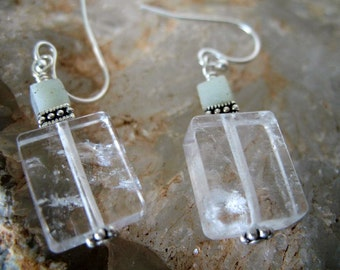 Cubed Clear Crystal Quartz Earrings with pale green Amazonite