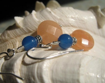 Peach Orange and Blue Earrings