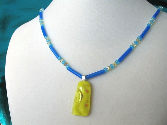 Yellow & Blue Dichroic Glass Necklace