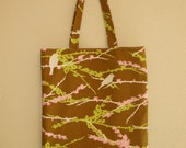 go green market tote in pouch in aviary bird print