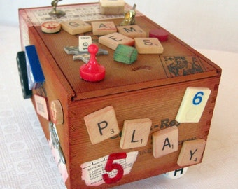 Vintage Altered Cigar Box- Let the Games Begin