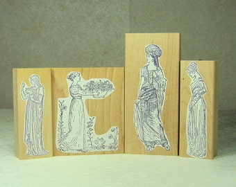 4 Rubber Stamps-Medievil Women-1 Used 3 New